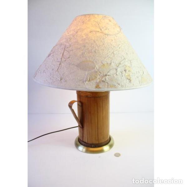 Antigüedades: Antigua lámpara de mesa de bambú - Foto 9 - 166311958