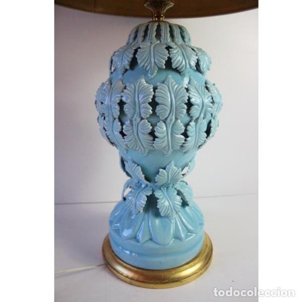Antigüedades: Antigua lámpara de porcelana de manises - Foto 2 - 166314010