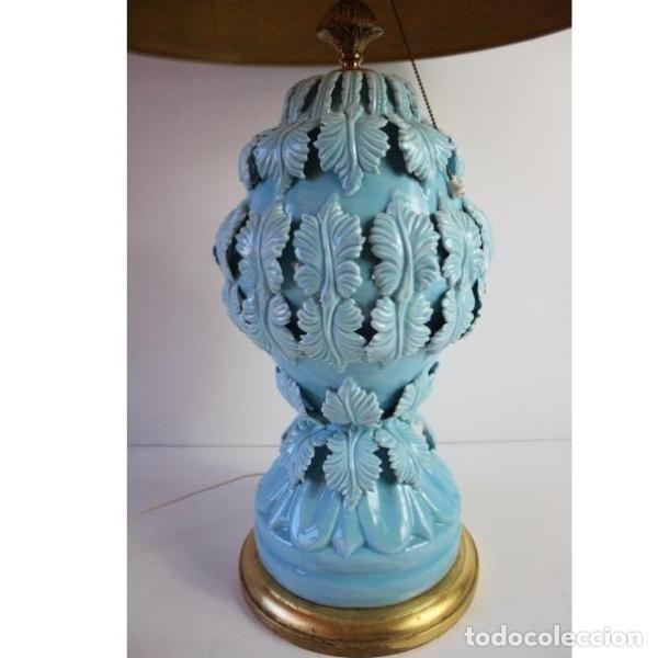 Antigüedades: Antigua lámpara de porcelana de manises - Foto 3 - 166314010