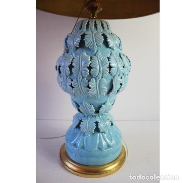 Antigüedades: Antigua lámpara de porcelana de manises - Foto 4 - 166314010