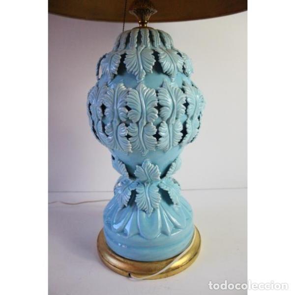 Antigüedades: Antigua lámpara de porcelana de manises - Foto 6 - 166314010