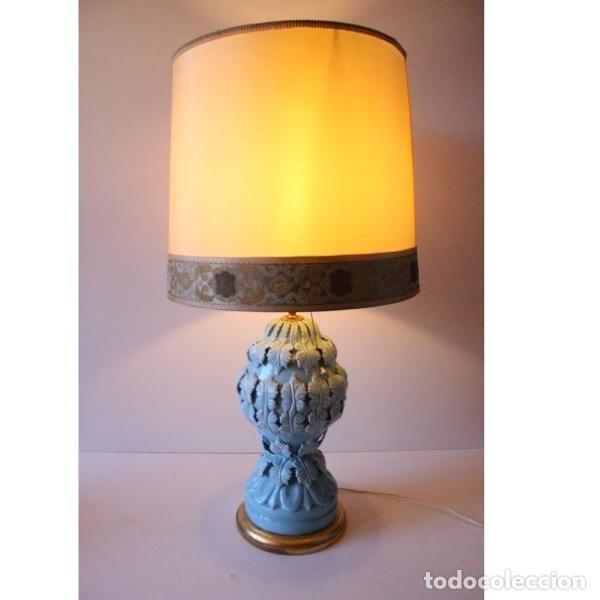 Antigüedades: Antigua lámpara de porcelana de manises - Foto 8 - 166314010