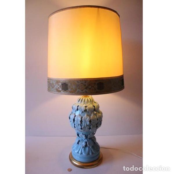 Antigüedades: Antigua lámpara de porcelana de manises - Foto 9 - 166314010