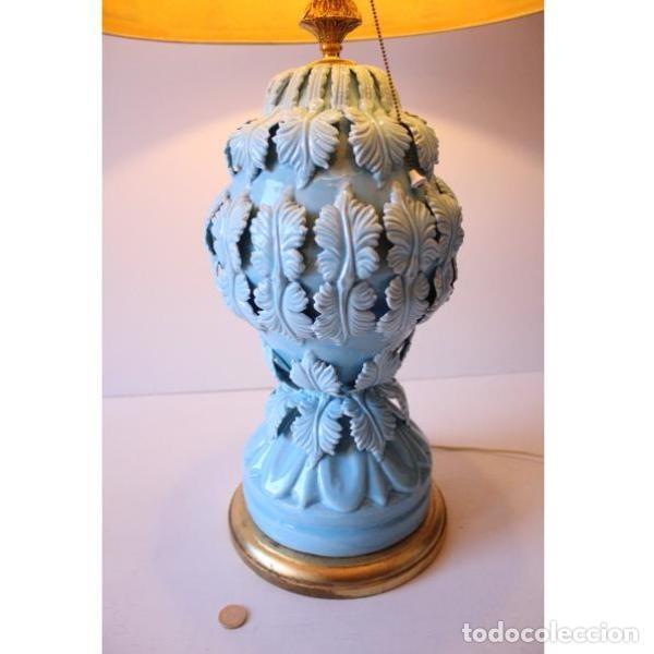 Antigüedades: Antigua lámpara de porcelana de manises - Foto 10 - 166314010