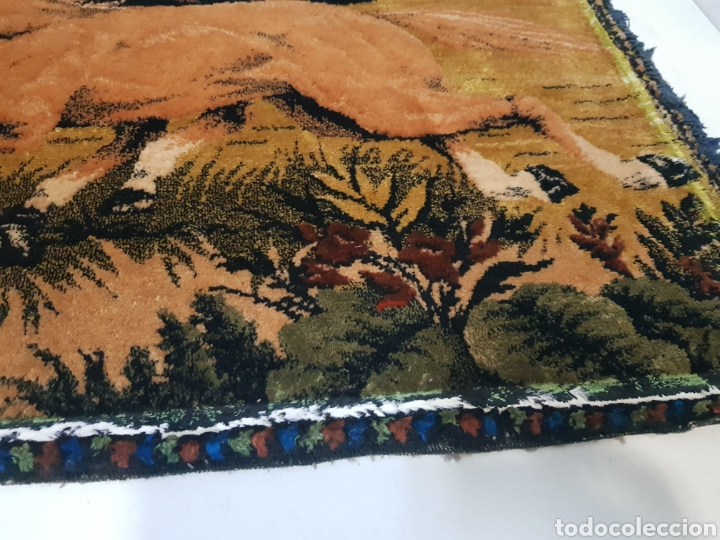 Antigüedades: ANTIGUO TAPIZ DE CABALLOS / MEDIDAS 100 x 50 cm - Foto 5 - 166323789