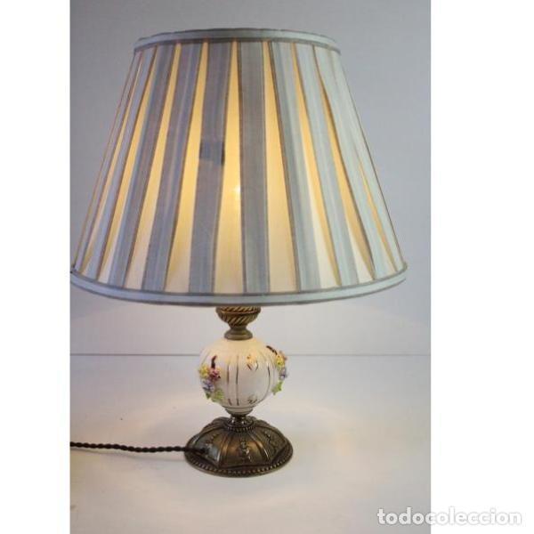 Antigüedades: Antigua lámpara de mesa de porcelana - Foto 5 - 166324238