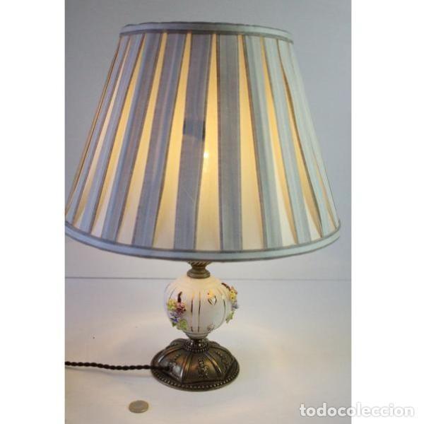 Antigüedades: Antigua lámpara de mesa de porcelana - Foto 6 - 166324238