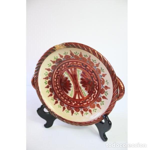Antigüedades: Antiguo plato de cerámica de reflejos de Sanguino de Toledo - Foto 2 - 166324790