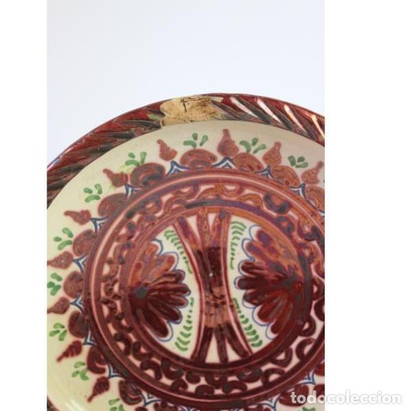 Antigüedades: Antiguo plato de cerámica de reflejos de Sanguino de Toledo - Foto 3 - 166324790