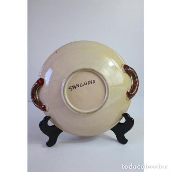 Antigüedades: Antiguo plato de cerámica de reflejos de Sanguino de Toledo - Foto 5 - 166324790