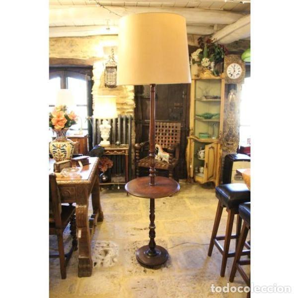 Antigüedades: Antigua lámpara mesa auxiliar de madera años 50 - Foto 2 - 166326378