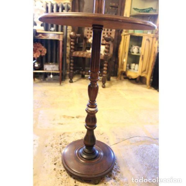 Antigüedades: Antigua lámpara mesa auxiliar de madera años 50 - Foto 4 - 166326378