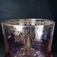 Antigüedades: CUBITERA EN CRISTAL DE BOHEMIA. TONALIDAD LILA CON CENEFAS Y DETALLES EN PLATA DE LEY.. Lote 166390554