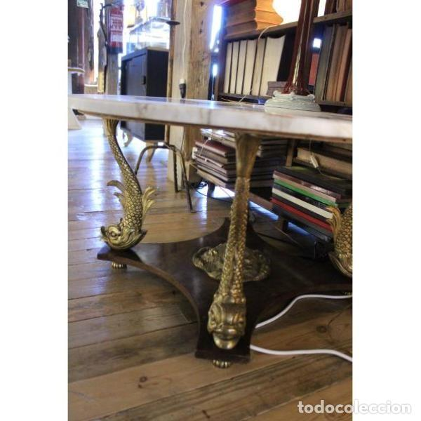 Antigüedades: Antigua mesa de mármol, madera y bronce - Foto 2 - 166406374