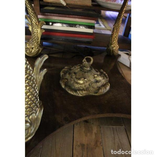Antigüedades: Antigua mesa de mármol, madera y bronce - Foto 5 - 166406374