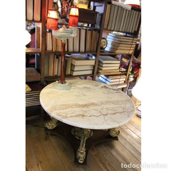 Antigüedades: Antigua mesa de mármol, madera y bronce - Foto 7 - 166406374