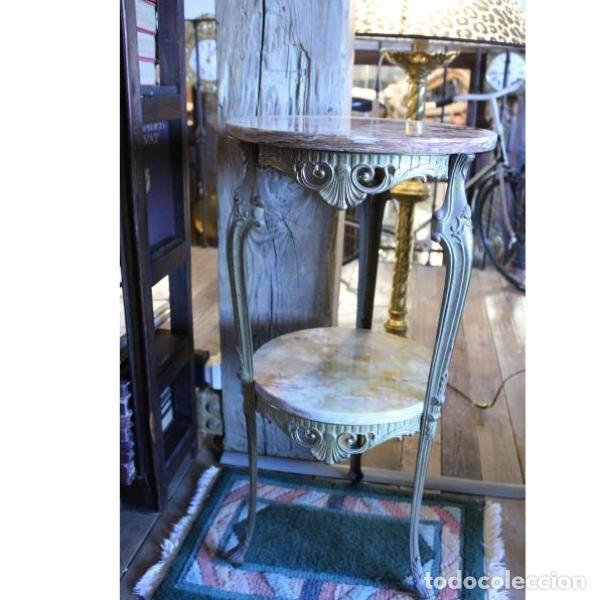 Antigüedades: Antigua mes años 50 en mármol y bronce doble altura - Foto 2 - 166406854