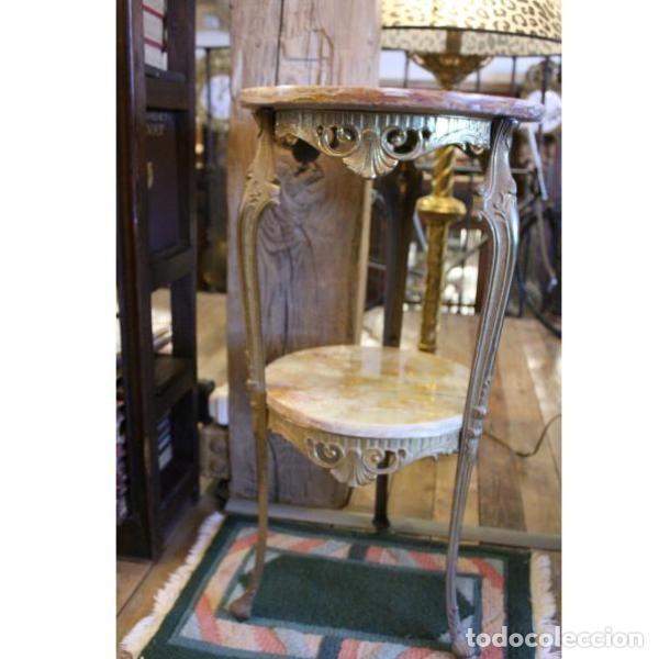 Antigüedades: Antigua mes años 50 en mármol y bronce doble altura - Foto 4 - 166406854