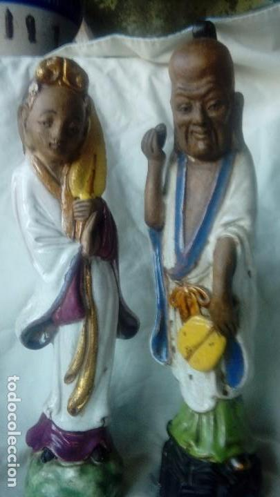Antigüedades: Pareja de figuras chinas de ceramica vidriada - Foto 2 - 166446378