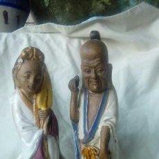 Antigüedades: PAREJA DE FIGURAS CHINAS DE CERAMICA VIDRIADA. Lote 166446378