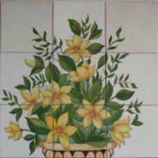 Antigüedades: FLORES AMARILLAS CON JARRÓN. Lote 166487166