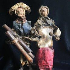 Antigüedades: ESPECTACULAR ESCULTURA DE UNA PAREJA DE ABUELOS, REALIZADA EN PAPEL PINTADO.. Lote 166507926