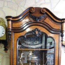 Antigüedades: VITRINA ANTIGUA DE CAOBA ROBLE LOUIS PHILIPE S.XIX. CON MARQUETERÍA.. Lote 166520522