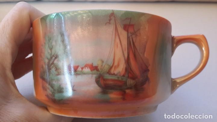 Antigüedades: Juego de tazas y platos con expositor de mimbre - Foto 7 - 166521614