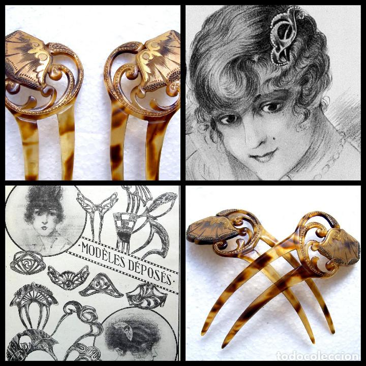 Antigüedades: 2 peinetas Art Nouveau con diseño dorado decorativo. - Foto 2 - 166521974