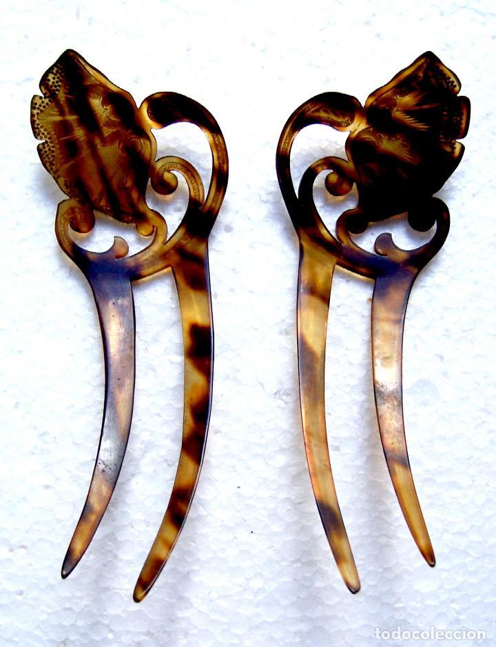 Antigüedades: 2 peinetas Art Nouveau con diseño dorado decorativo. - Foto 6 - 166521974