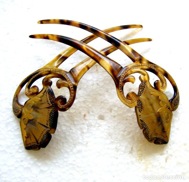 Antigüedades: 2 peinetas Art Nouveau con diseño dorado decorativo. - Foto 11 - 166521974