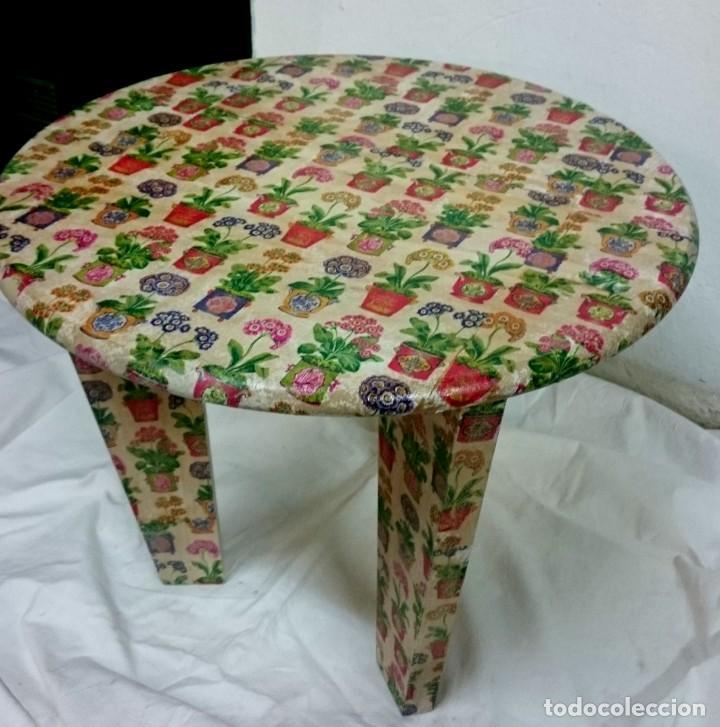 Antigüedades: mesa de pino decorada con tiestos y macetas, preciosa, muy alegre. - Foto 2 - 166538950
