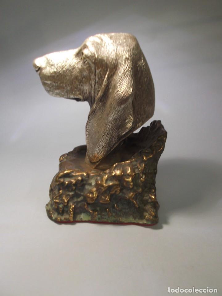 Antigüedades: Dos figuras de perros,un Pointer y un Cocker, en plata de 925milésimas y base de bronce.Vintage - Foto 7 - 166547642