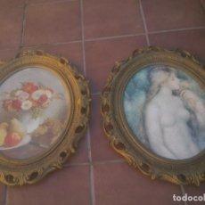 Antigüedades: PAREJA MARCOS OVAL RESINA DORADA CON LAMINA GRAN TAMAÑO. Lote 166560042