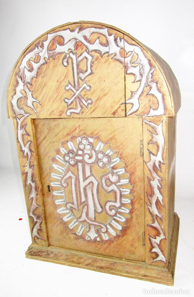 SAGRARIO ANTIGUO MADERA DORADA Y POLICROMADO, IDEAL CALIZ CUSTODIA O ARTICULOS RELIGIOSOS CAPILLAS (Antigüedades - Religiosas - Artículos Religiosos para Liturgias Antiguas)