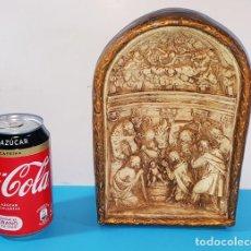 Antigüedades: ANTIGUA HORNACINA ESCAYOLA CON NACIMIENTO 22 X 15 CM, BELEN. Lote 166608670