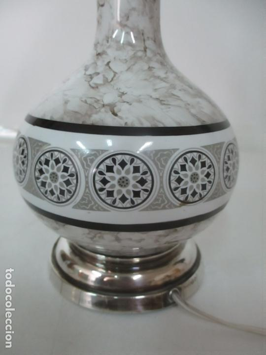 Antigüedades: Lámpara de Sobremesa - Plata de Ley, Con Contrastes - Sello Bagues - Cerámica - Años 50 - Foto 3 - 166622686