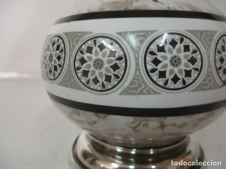 Antigüedades: Lámpara de Sobremesa - Plata de Ley, Con Contrastes - Sello Bagues - Cerámica - Años 50 - Foto 4 - 166622686