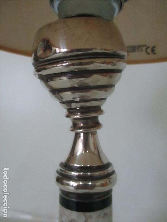Antigüedades: Lámpara de Sobremesa - Plata de Ley, Con Contrastes - Sello Bagues - Cerámica - Años 50 - Foto 5 - 166622686