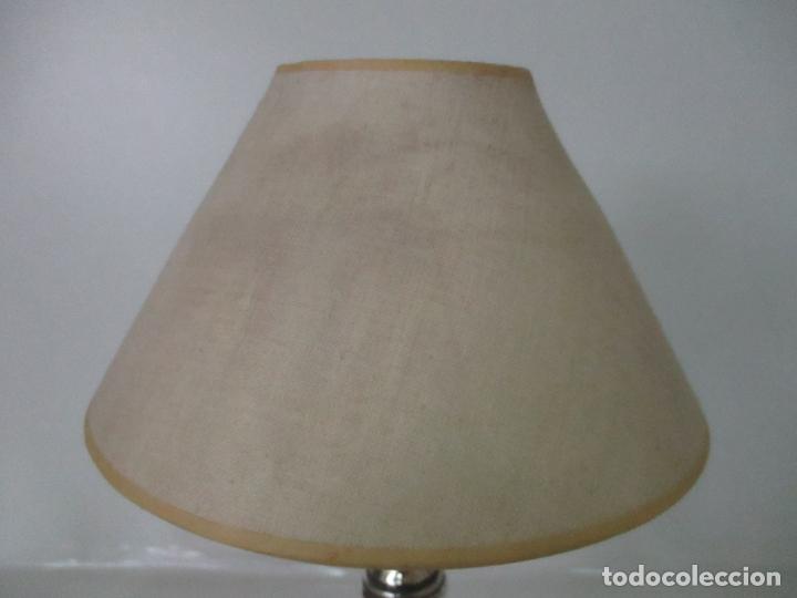 Antigüedades: Lámpara de Sobremesa - Plata de Ley, Con Contrastes - Sello Bagues - Cerámica - Años 50 - Foto 6 - 166622686