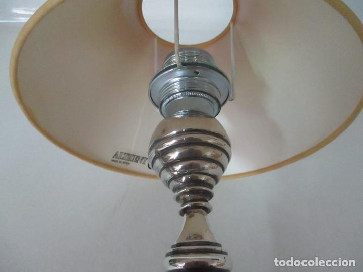 Antigüedades: Lámpara de Sobremesa - Plata de Ley, Con Contrastes - Sello Bagues - Cerámica - Años 50 - Foto 7 - 166622686