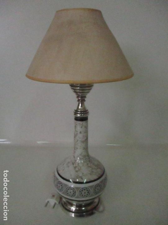 Antigüedades: Lámpara de Sobremesa - Plata de Ley, Con Contrastes - Sello Bagues - Cerámica - Años 50 - Foto 12 - 166622686
