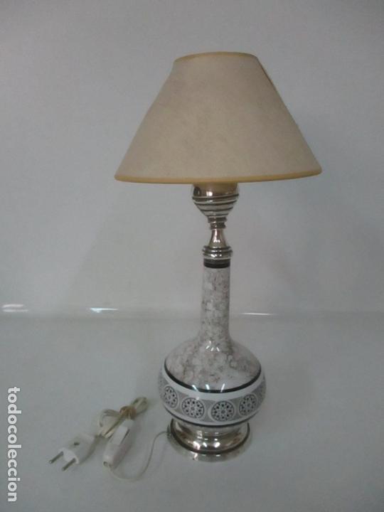 Antigüedades: Lámpara de Sobremesa - Plata de Ley, Con Contrastes - Sello Bagues - Cerámica - Años 50 - Foto 13 - 166622686