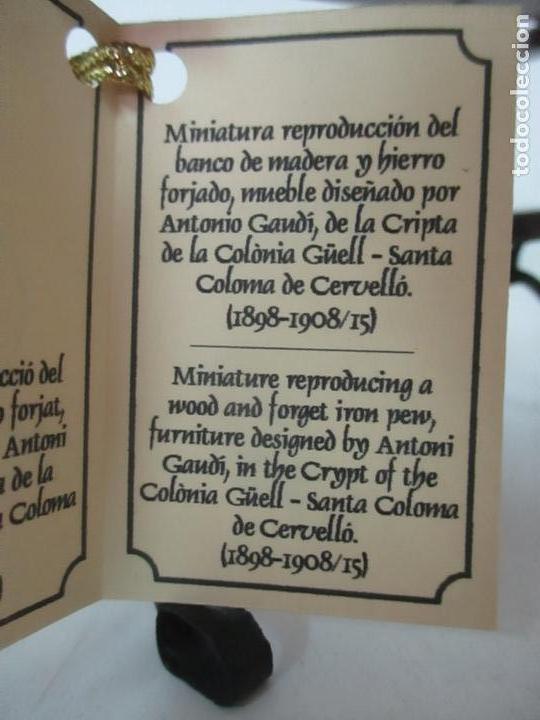 Antigüedades: Bonito Banco Miniatura - Diseño A. Gaudí - Madera - Hierro Forjado - Certificado - Caja Original - Foto 14 - 166624086