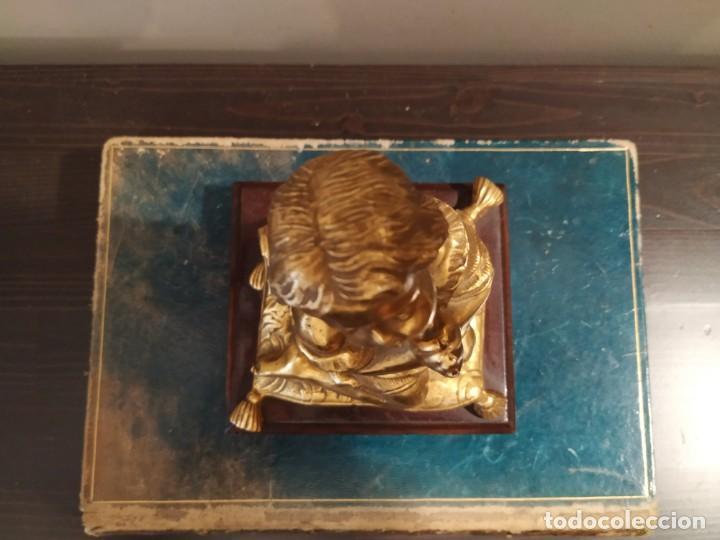 Antigüedades: NIÑA ORANDO REZANDO METAL DORADO Y BASE MADERA - Foto 7 - 166665642