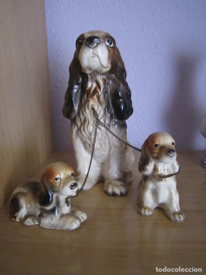 FAMILIA DE 3 PERROS EN PORCELANA DE MANISES AÑOS 70 (Antigüedades - Porcelanas y Cerámicas - Manises)