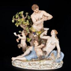 Antigüedades: GRUPO ESCULTÓRICO EN PORCELANA ALEMANA, MEISSEN, 1ER TERCIO DEL SIGLO XIX. Lote 166683148