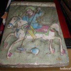 Antigüedades: AZULEJO VIDRIADO PINTADO SANTIAGO MATAMOROS MEDIDA 23 X 15,5 CM. . Lote 166692746