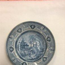Antigüedades: PLATO DE COLGAR DE PORCELANA, DECORACIÓN CHINESCA * YEDDO * SARREGUEMINES *. Lote 166704406