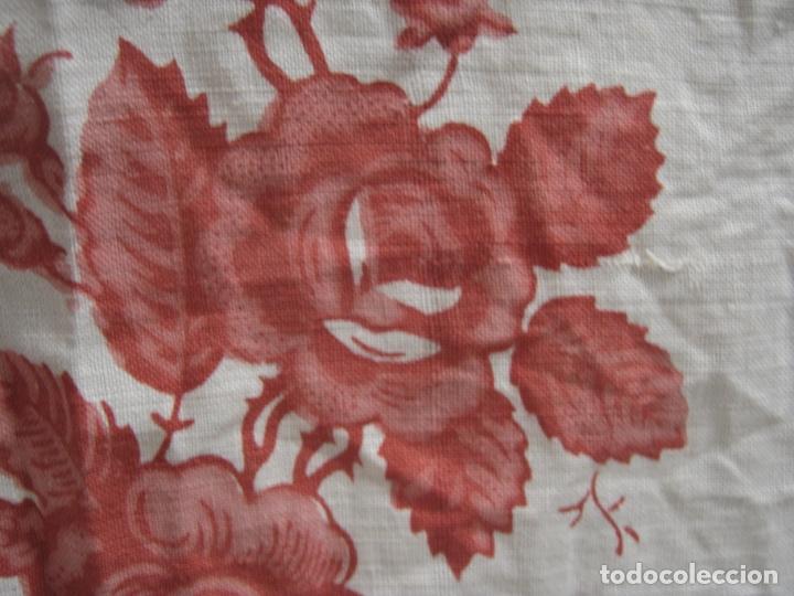 Antigüedades: Antiguo Pañuelo Algodón Estampado para cabeza u hombros - Foto 5 - 166723402